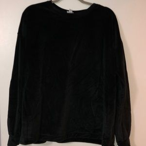 Black soft velour crew neck with bell sleeves
